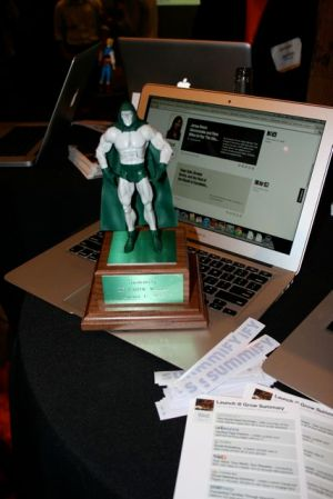 Summify's super hero trophy - Launch@Grow 2011